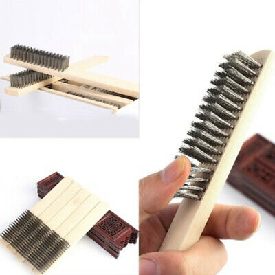 Stainless Steel Wire Brass Scratch Brush Wood Handle Metal Rust Cleaning Tools
