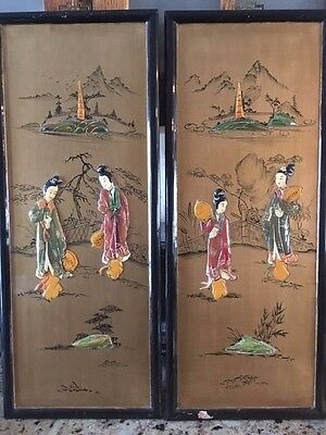 Vintage Asian Carved Mother of Pearl Wall Art 3D Geisha- Made in Hong Kong