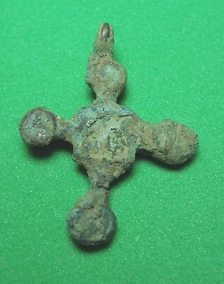 Ancient Bronze Cross 10-13 century Wearable Pendant Antique Rare C95