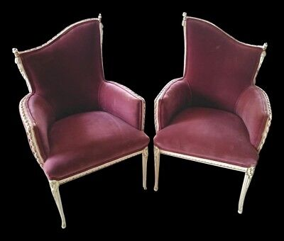 Vintage French Provincial Rope & Tassel Bergere Fireside Chairs Pink Rose