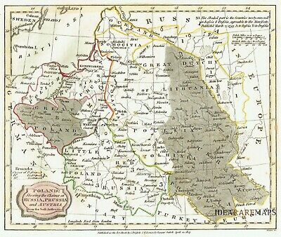 POLAND LITHUANIA - 1807 Uncommon J. BARLOW  G. KEARSLEY Original antique map