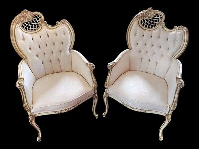 Pair Vintage French Provincial Rococo Fireside Chairs Doves & Ribbons Upholstery