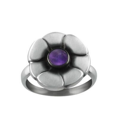 Georg Jensen. Sterling Silver Ring with Amethyst #36 - Moonlight Blossom.