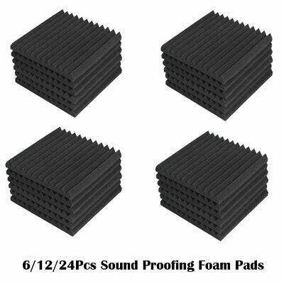 6/12/24Pcs Acoustic Music Room Wall Panels Sound Proofing Foam Pads Studio Decor
