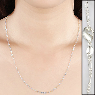 "Sterling Silver plated 2mm Figaro Chain 16,18,20,22,24"" Necklace Jewelry USA"