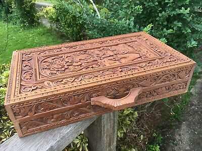 Fabulous Carved Wood Case Box Storage Indonesion Demon God Wooden Carving