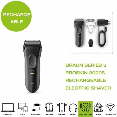 *Brand New* Braun Series 3 ProSkin 3000S Rechargeable Electric Shaver - Grey