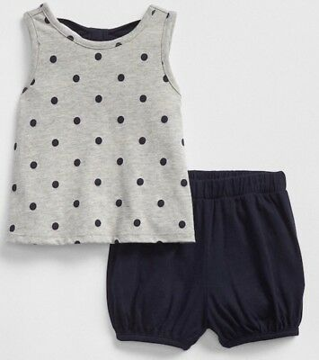 Nwt Baby Girl Baby Gap Outfit Size 12-18 Months Bow-Back Bubble Short Set