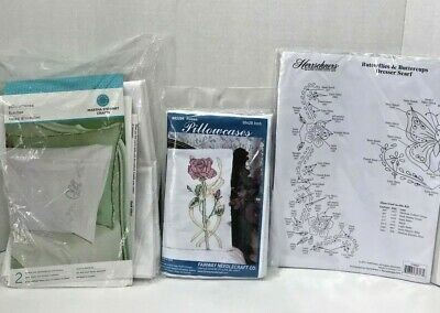 Lot of 3 Hand Embroidery Kits Pillowcases Dresser Scarf Floral