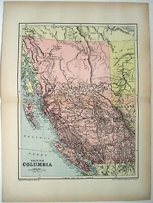 Original 1895 Map of British Columbia by W&AK Johnston. Antique