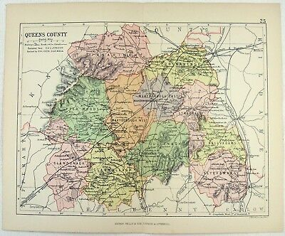 Original 1882 Map of Queens County, Ireland by George Philip. Antique