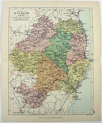 Original 1882 Map of the County of Wicklow, Ireland by George Philip. Antique