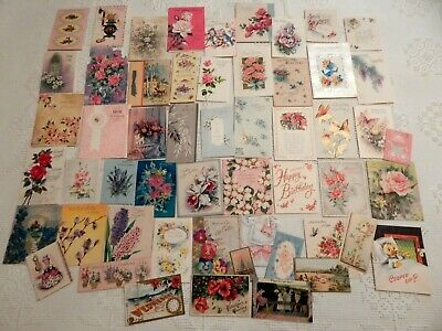 Lot Of 50 Assorted Vintage Greeting Cards With 3 Antique Post Cards