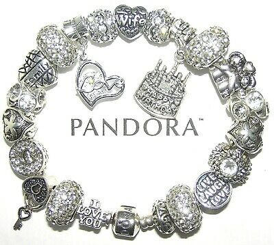 Authentic Pandora Silver Bracelet with WIFE APRIL BIRTHDAY LOVE European Charms