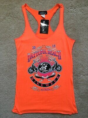 847f2ea91 NEW NWT RARE 75th Annual Daytona Beach Bike Week Tank Top NEON ORANGE SM  MSP $20