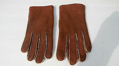 **Designer Ladies  Brown Sueded Lambskin Winter Gloves Acrylic Lining Size Small