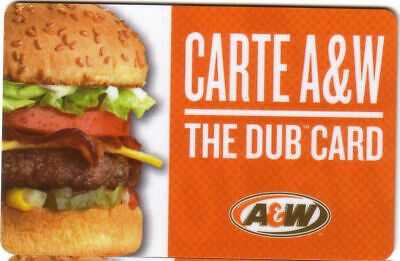 A&W CANADA RESTAURANT GIFT CARD ROOT BEER logo NO VALUE RECHARGEABLE