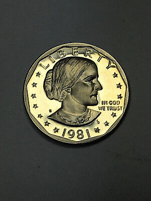 1981-S Type 2 (Clear and Flat S) Proof Susan B Anthony Dollar