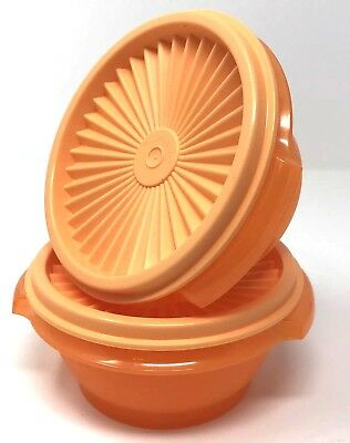 Tupperware Servalier Bowls 10 oz. Set of 2 Storage Snack Containers Orange New