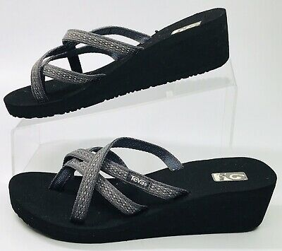 d92bfd6d8 Teva Mush Mandalyn Wedge Ola 2 Flip-Flop Black Gray Women s Shoes Size 8  Sandal