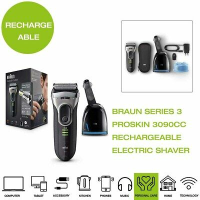 *Brand New* Braun Series 3 ProSkin 3090CC Clean&Charge Electric Shaver - Grey