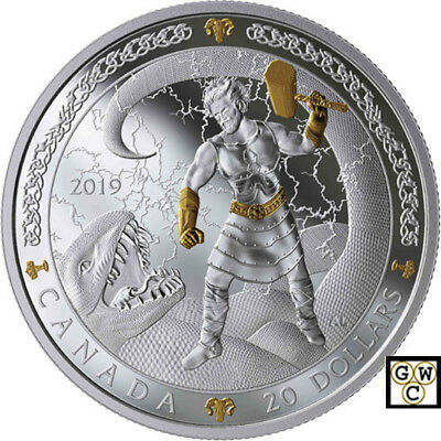 2019 'Thor-Norse Gods' Gold-Plated Proof $20 Silver Coin 1oz .9999 Fine(18706)NT
