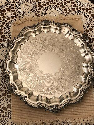 """WILCOX INTERNATIONAL SILVER  Co. FOOTED SERVING TRAY-15"""" -Silverplate"""
