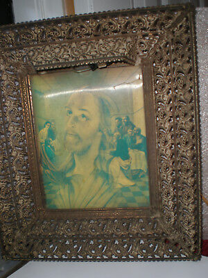 Vintage Jesus & The Last Supper Hologram 3D Picture w/ Orig Metal Light Up Frame