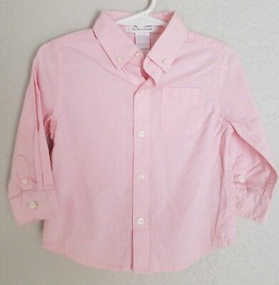 Janie & Jack Boys Button down Light Pink Shirt Long Sleeve Sz 12-18 Mo Easter