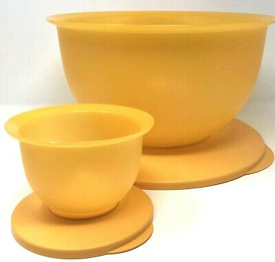 Tupperware Impressions Bowl Set 32 Cup Large + 2 Cup Small Goldenberry New
