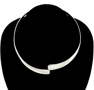 Vintage Handcrafted Solid Sterling Silver Bypass Style Choker Necklace Modernist
