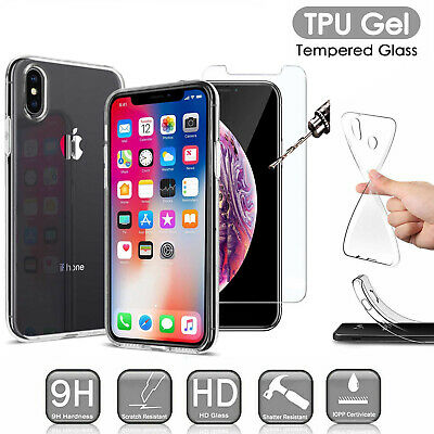 Clear TPU Gel Case Cover + Tempered Glass Screen Protector For iPhone Vivo Oppo