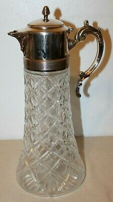 Antique Diamond Pattern Pressed Glass Decanter w/Silver Plate Top & Ice Insert.