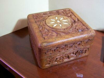 """Antique Asian Hand Carved Hinged Trinket Box with Bone Inlay 4x4 """""""
