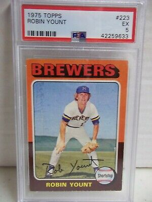 Vintage 1975 Topps Rookie Robin Yount Baseball Card 223 Psa
