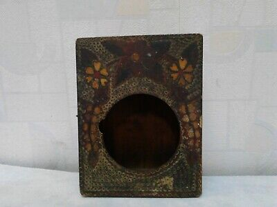 Antique Primitive Old Nice Hand Painted Wooden Wall Hanging Clock Box