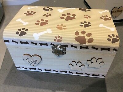 Dog Pet In Loving Memory Wooden Keepsake Paw Print Box Ashes Personalised Gift
