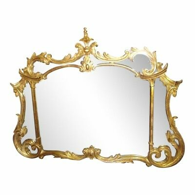 Vintage Gold Gilt Baroque Hollywood Regency Chinoiserie Ornate Mirror Italy