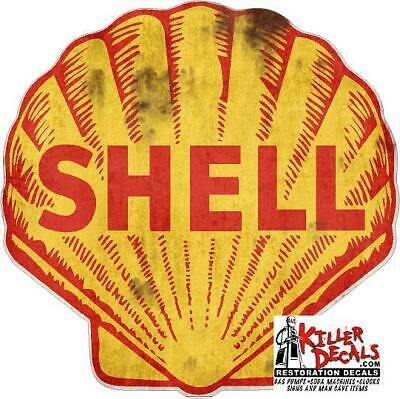 "(shell #3R) 10"" SHELL RUSTY gasoline pump LUBSTER DECAL GAS OIL STICKER"