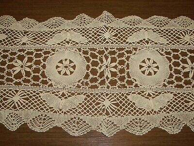 Antique Off-White Embroidered Filet Net Lace Runner - Butterflies - S33