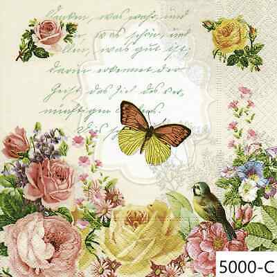 TWO New Cocktail Size Paper Decoupage Napkins FLOWERS, BIRD, BUTTERFLY, (5000)