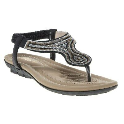 New Womens Lotus Gold Bologna Synthetic Sandals Flats Elasticated Slip On