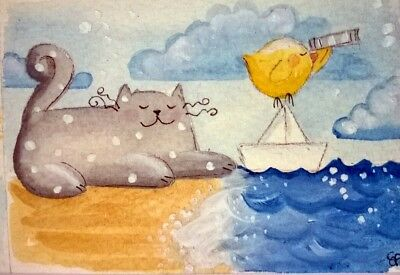 original watercolor ACEO- happy cat little bird paper boat sea beach