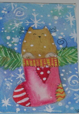 original watercolor ACEO- happy cat christmas sock snow