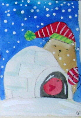 original watercolor ACEO- happy cat snow igloo winter little bird