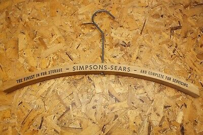 Vintage Simpsons Sears Furs Wooden Clothes Hanger Canadian Department Store