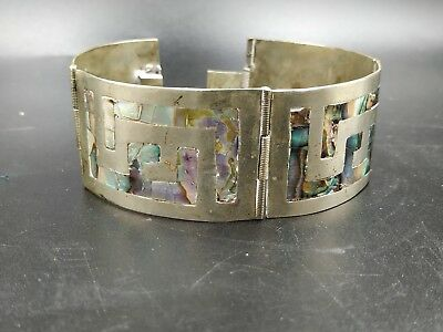 Alpaca Mexico Silver Color Vintage Hinged Panel Bracelet W/