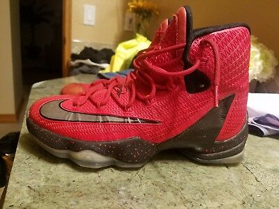 check out af198 fc8c2 NIKE LEBRON 13 Elite 831923-606 Red & Black High Top Basketball Shoes: 7M