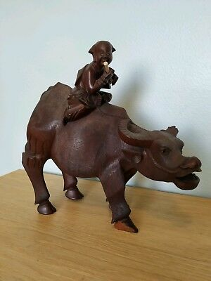 Antique  Very Fine Chinese Hand Carved Wood Boy On  Bull