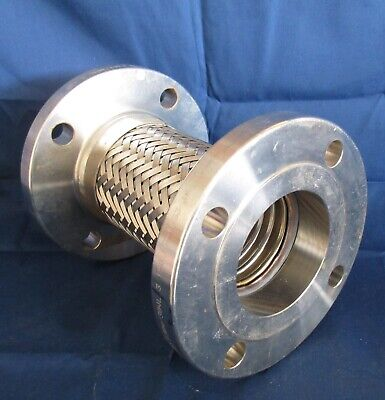 "9"" Long Stainless Steel 3"" ID Mesh Flexible Flanged Coupling """"Never Used"""""